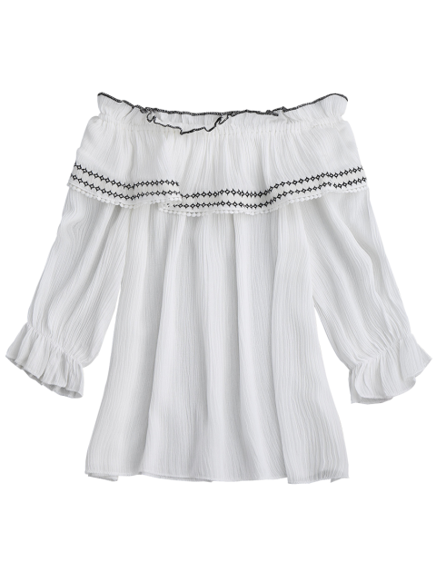 latest Off The Shoulder Ruffle Embroidered Blouse - WHITE ONE SIZE Mobile