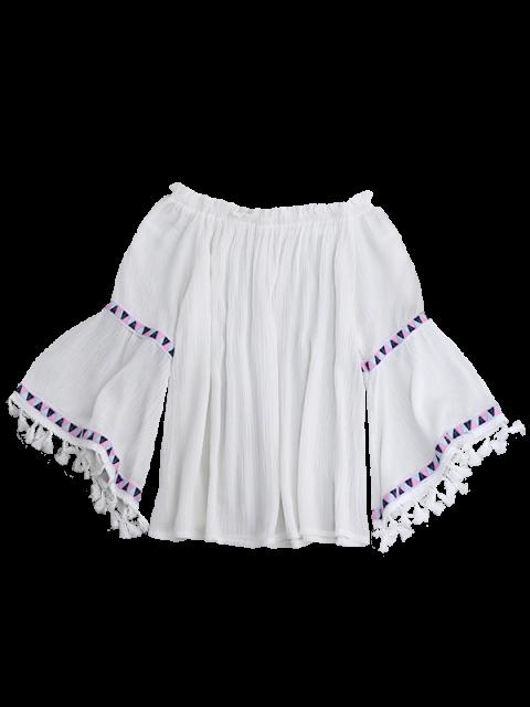 shops Off Shoulder Flare Sleeve Tassel Blouse - WHITE ONE SIZE Mobile