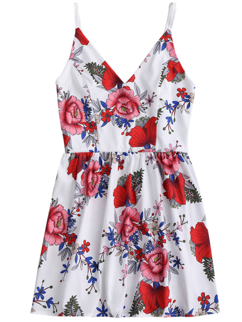 hot Floral Print Mini Cami Sundress - WHITE L Mobile