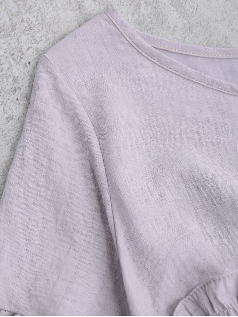 outfits Ruffles Smock Blouse - LIGHT PURPLE ONE SIZE Mobile