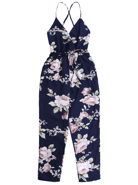 unique Slip Floral Surplice Jumpsuit With Tie Belt - COLORMIX XL Mobile