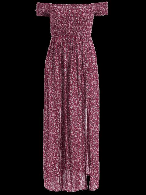 affordable Tiny Floral Off The Shoulder Slit Dress - FLORAL M Mobile