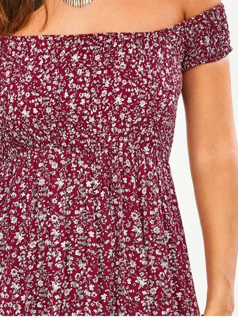 buy Tiny Floral Off The Shoulder Slit Dress - FLORAL S Mobile