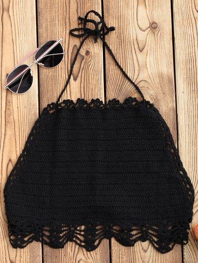 Halter Crochet Crop Top - Black