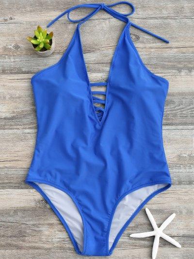 Strappy Halter One Piece Swimwear - Blue