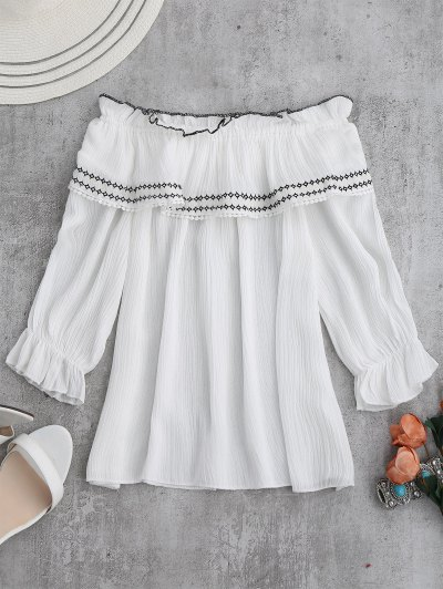 Off The Shoulder Ruffle Embroidered Blouse - White