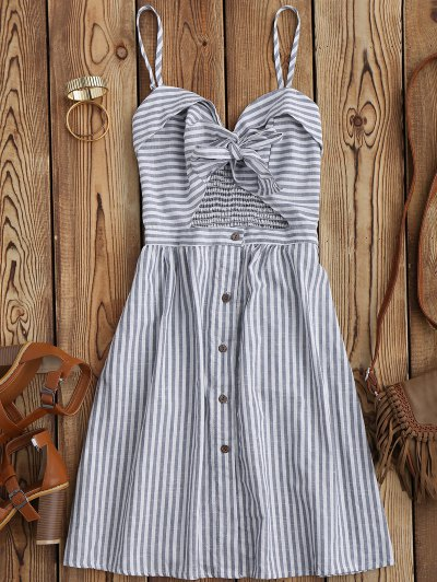 Striped Front Knot Cutout Cami Dress - Stripe