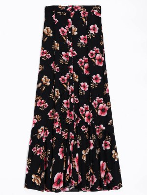 Button Up Floral A-Line Skirt - Black