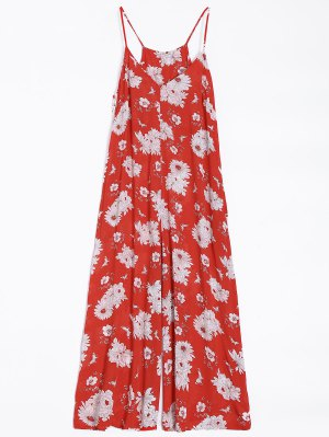 Flower Wide Leg Jumpsuit - Red