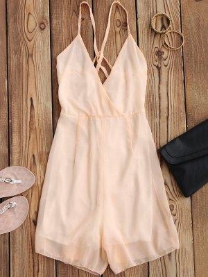 Crossover Cami Chiffon Beach Romper - Pink