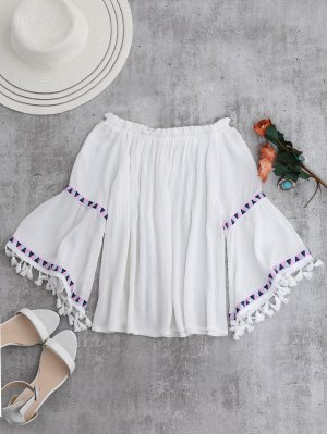 Off Shoulder Flare Sleeve Tassel Blouse - White