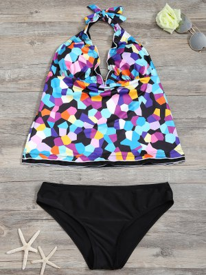 Halter Colorful Geometric Print Tankini Set - Black