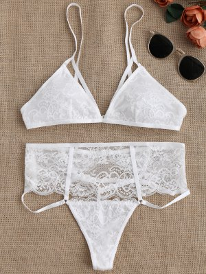 Cut Out High Waisted Banded Lace Bra Set - White