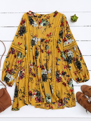 Cut Out Floral Tunic Dress - Yellow