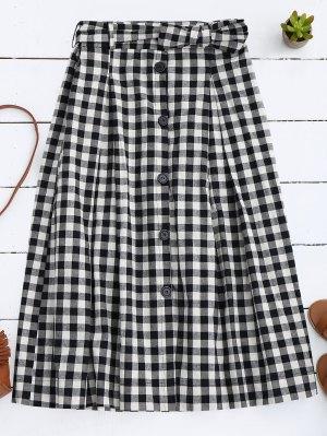 Button Up Bowknot A-Line Skirt - Black