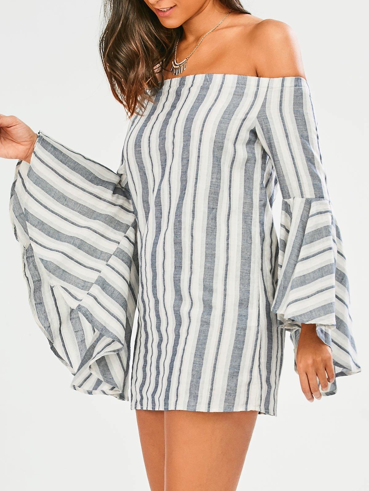 Stripes Off The Shoulder Tunic Dress 211718705