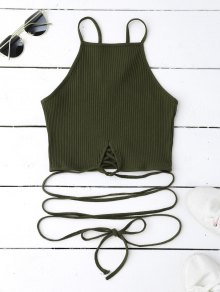 Spaghetti Straps Strappy Tank Top - Blackish Green S