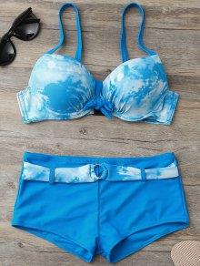 Tie-Dyed Underwire Tied Bikini Bra with Boxers