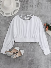 Back Lace Up Boat Neck Cropped Blouse - White M