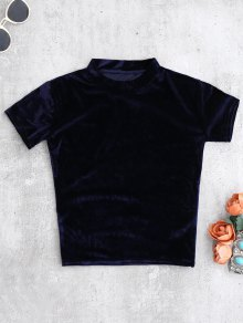 Velvet Crew Neck Cropped T-Shirt