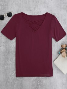 Strappy T-Shirt - Burgundy M