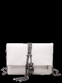 Chains Tassel Fold Down Crossbody Bag - White