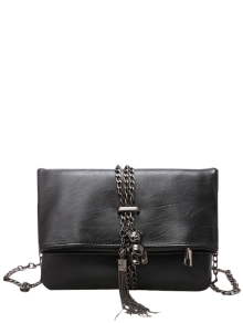 Chains Tassel Fold Down Crossbody Bag - Black