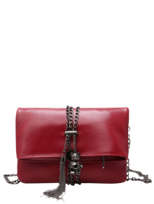Chains Tassel Fold Down Crossbody Bag - Red