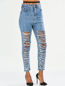 Tapered Distressed Jeans - Denim Blue