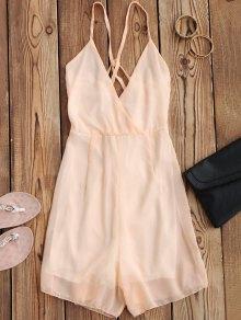 Crossover Cami Chiffon Beach Romper - Pink S