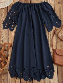 Off The Shoulder Flared Dress - Purplish Blue