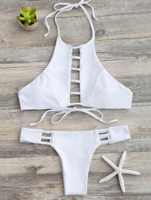 Ladder Cutout Halter Bathing Suit
