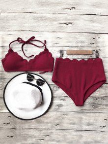 Halter Scalloped High Waisted Bikini Set