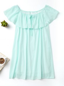 Frilly Off The Shoulder Dress - Turquoise S