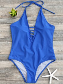 Strappy Halter One Piece Swimwear - Blue