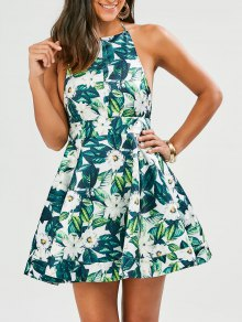 Tropical Print Backless Fit And Flare Dress - Green