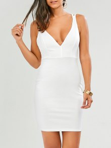 Plunge Strappy Bodycon Dress - White S