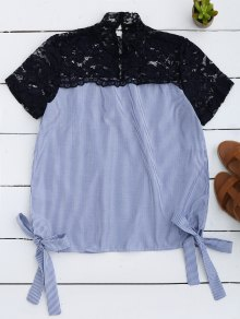 Stripes Lace Panel Top - Light Blue L