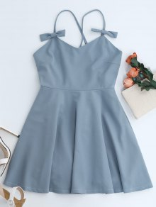 Bowknot Slip Skater Backless Dress - Light Blue