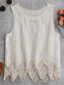 Cotton Blend Lace Geometric Scalloped Tank Top - Off-white