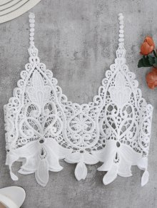 Crocheted Lace Ver A Través De Tank Top Recortada - Blanco