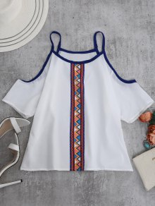 Spaghetti Strap Cold Shoulder Printed Top