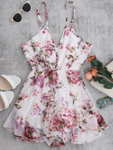 Cami Floral Chiffon Holiday Romper - White