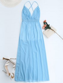 Plunge Open Back Slit Chiffon Dress - Sky Blue Xl