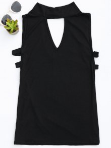 Stand Collar Armhole Cut Out Tank Top