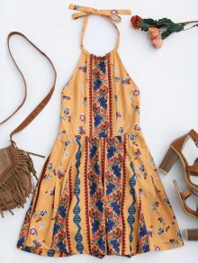 Print Halter Skirted Open Back Romper