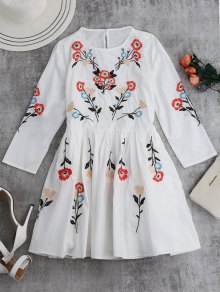 Floral Flowing Tunic Dress And Tank Top - White