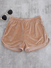 Sporty Velvet Shorts - Khaki M
