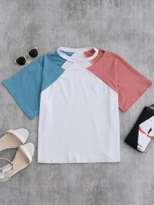 Color Block Cold Shoulder Oversized Tee