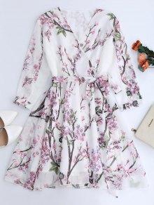 فستان زهري كهنوتي السيفون متدفق - أبيض S